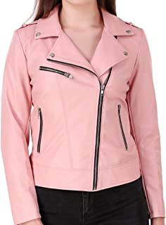 Leather Retail® Pink colour Girls Faux Leather Jacket For Roadies Woman