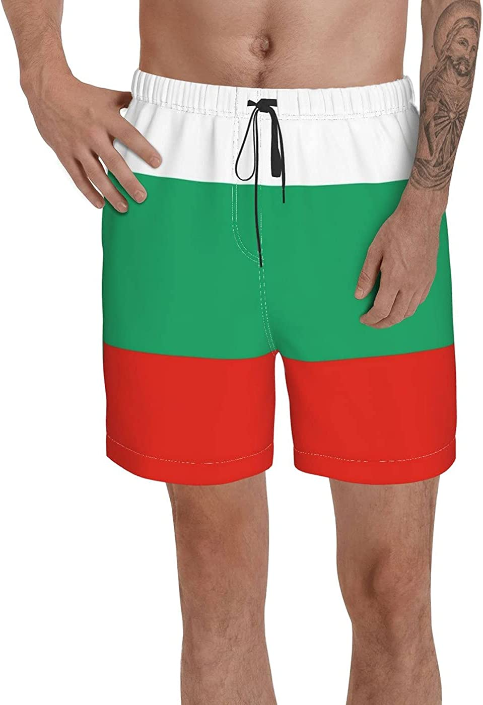 Count Bulgaria Flag Men's 3D Printed Funny Summer Quick Dry Swim Short Board Shorts with