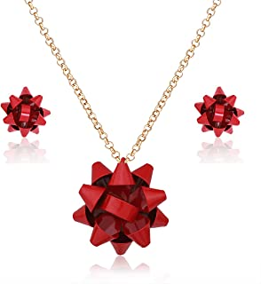 Christmas Necklace Earring Set Statement Gift Bow Pendant Necklace Post Stud Earring Set Christmas Jewelry Gifts for Women Girls