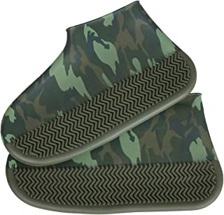 BENPIN Silicone Shoe Covers 1 Pair, Waterproof Reusable Camouflage Rain Boots Non Slip Design for Kids Women Men for Rain, Cycling, Outdoor, Camping, Fishing, Garden, Travel