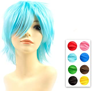 Modernfairy Anime Wig Aqua Blue for Cosplay Halloween Party, Synthetic Layered Short Hair Wigs with Bangs, Pastel Wigs for Women Men Kids