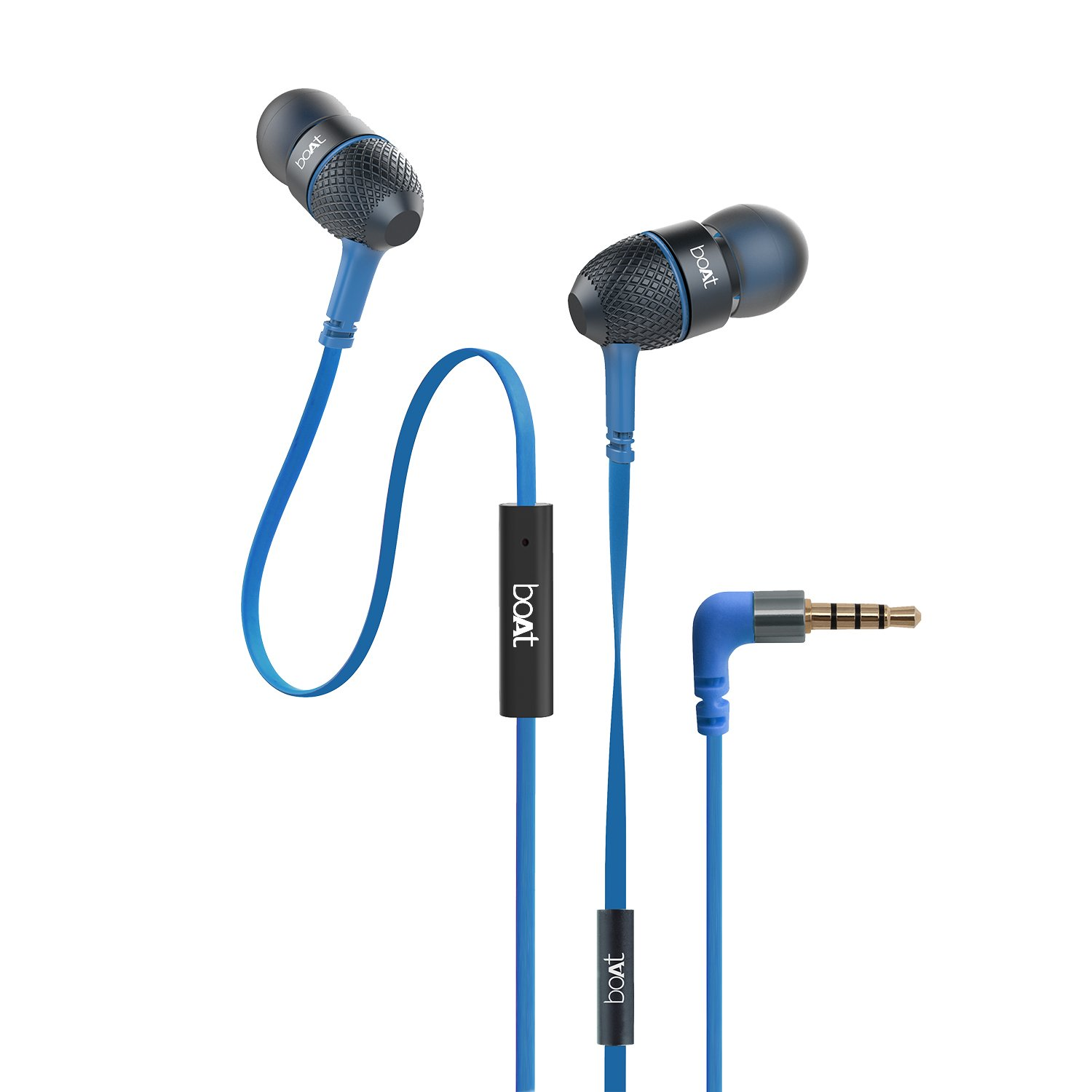 boAt BassHeads 225 in-Ear Wired Earphones with Super Extra Bass, Metallic Finish, Tangle-Free Cable and Gold Plated Angled Jack (Blue)