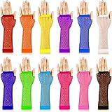 TecUnite 12 Pairs Fingerless Fishnet Neon Gloves for Women and Girls 80s Fishnet...