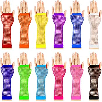 TecUnite 12 Pairs Fingerless Fishnet Neon Gloves for Women and Girls 80s Fishnet Gloves Long Net Mesh Fingerless Gloves Assorted Neon Colors 80s Party Costume Accessories Supplies