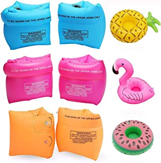 SIMUR 6Pack PVC Arm Floaties Inflatable Swim Arm Bands Floater Sleeves Swimming Rings Tube Armlets with 3Pcs Inflatable Drink Holder for Kids Toddlers and Adults (Pink Blue Orange)