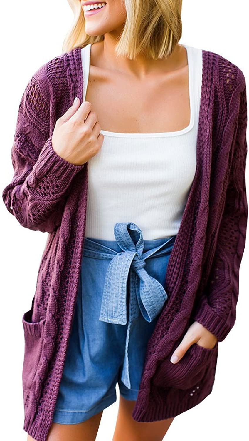 Imysty Womens Oversized Sweater Cardigans Hollow Out Cable Knit Open Front Outwear with Pockets