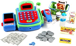 Kid Fun Pretend Play Electronic Cash Register Toy Realistic Actions and Sounds