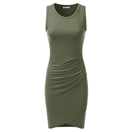 26295a5db6f Doublju Stretchy Fitted Tulip Hem Tank Dress for Women with Plus Size (Made  in USA
