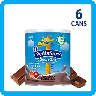 PediaSure Grow & Gain Non-GMO Shake Mix Powder, Nutritional Shake For Kids, With Protein, DHA, Antioxidants, and Vitamins & Minerals, Chocolate, 14.1 oz, 6-Count