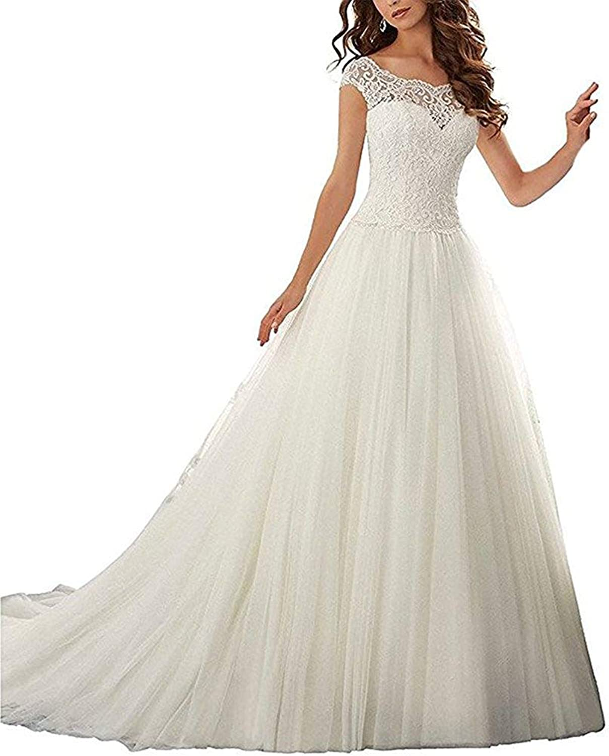 Alexzendra Long ALine Lace Wedding Dresses for Bride Cap Sleeves Tulle Bride Gown
