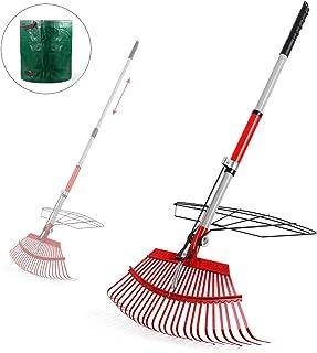 "Garden Rake, 38""- 56""Leaf Rake with 72 Gal Reusable Garden Waste Bag,Adjustable Rake and Grabber Set for Gardener, 25 Tine..."