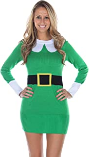 Women's Ugly Christmas Sweater - Green Elf Sweater Dress