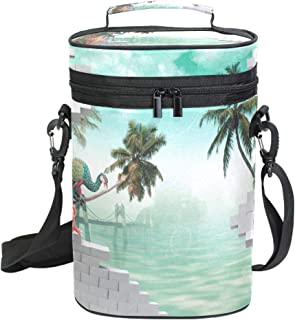 2 Bottle Wine Tote 3D Peacock Ocean Palm Tree Wine Travel Cooler Bag with Handle and Adjustable Shoulder Strap