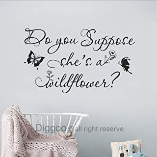 Diggoo Do You Suppose She's A Wildflower Wall Decal Butterfly Wall Decal Floral Nursery Decor Girls Room Decal (Black,9.5