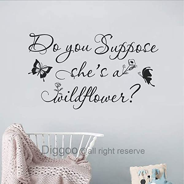 Diggoo Do You Suppose She S A Wildflower Wall Decal Butterfly Wall Decal Floral Nursery Decor Girls Room Decal Black 9 5 H X 16 W