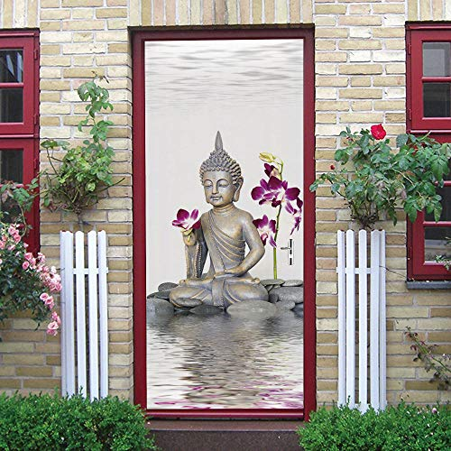 3D Vinilo para Puertas de Papel Buda meditación flor Autoadhesivo Impermeable Vinilos Puertas Pegatinas Para Decorativos Para la Puertas interior del Dormitorio Murales 77X200cm