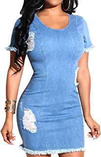 vanberfia Women's Elegant Zipper Sleeveless Bodycon Sexy Denim Dress