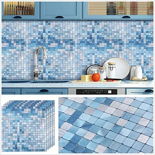 "HomeyMosaic Peel and Stick Tile Backsplash for Kitchen Wall Decor Aluminum Surface Metal Mosaic Tiles Sticker,Silver&Blue Plaid 12""x12"" x 5 Tiles"