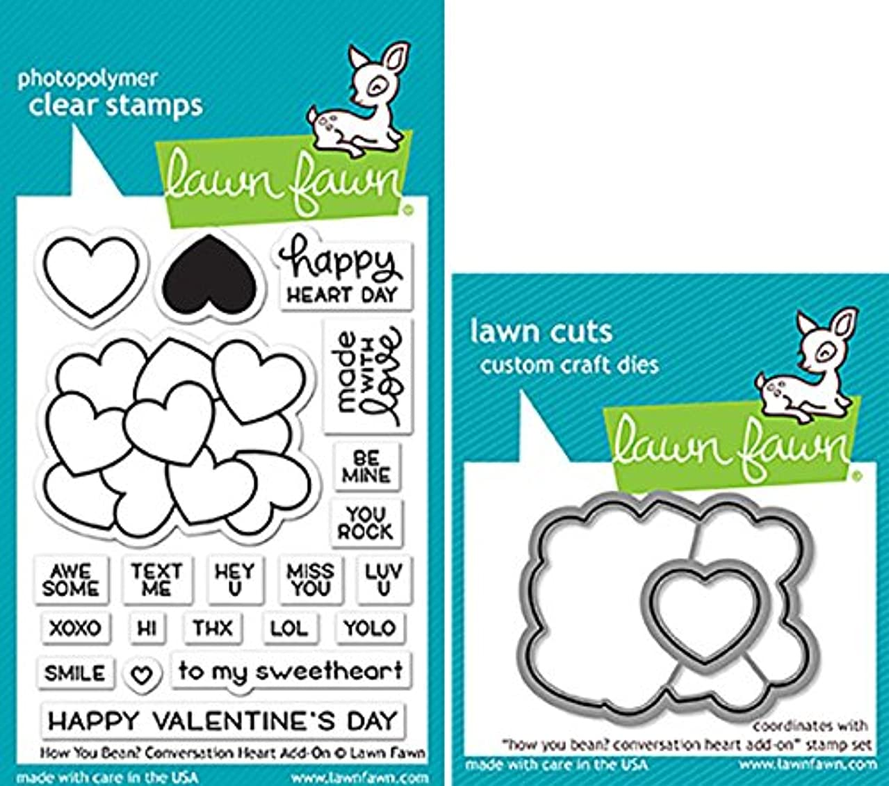 Lawn Fawn How You Bean Conversation Heart Add-On Clear Stamps and Dies Bundle LF1553 LF1554 (Set of 2)