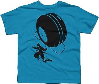 Design By Humans Ninja Yo-Yo Boy's Large Turquoise Youth Graphic T Shirt
