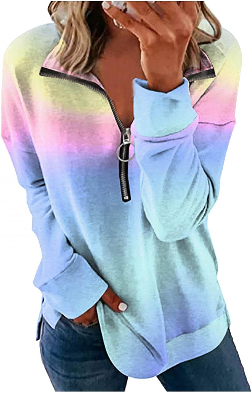 Forwelly Women Halloween Cloths Funny Graphic Print Long Sleeve T Shirt Half Zipper V Neck Lightweight Sweatshirt Pullover