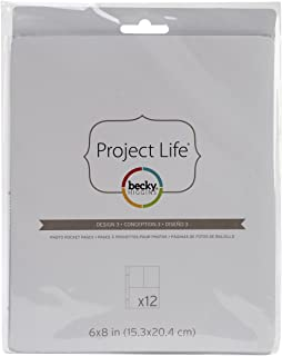 Becky Higgins 97733 Project Life Photo Pocket Page Protector-6 x 8-Design 3 (12 Pieces)
