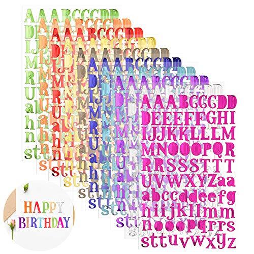 Adhésives Letter Stickers Autocollants De Lettre Anglaise 10 Couleurs Autocollants Alphabet Auto-Adhésifs pour Scrapbooking Bricolage Art Brillant Artisanat Carte De Voeux Livre Décoration