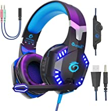 VersionTECH. G2000 Pro Gaming Headset 3.5mm Wired Headphones with 3D Surround Sound, HD Microphone, Volume Control, LED Lights, Compatible with PS4, Xbox One, PC Laptop Desktop Computer -Blue