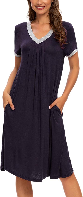 Women's Nightgowns V-Neck Night Shirts Short Sleeve Sleepshirts Night Sleepwear Nightshirt Pockets