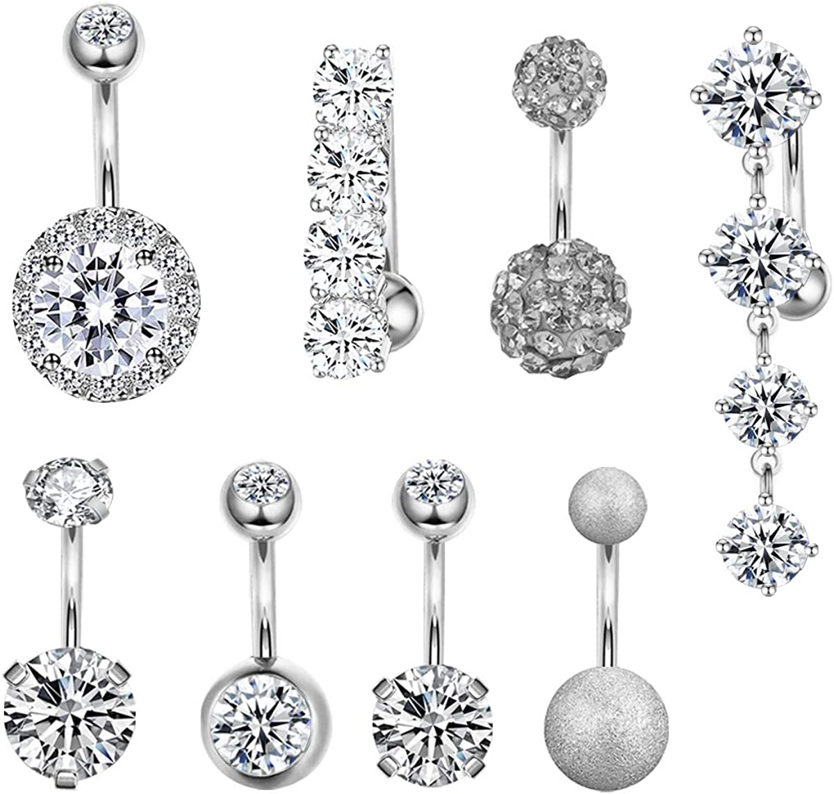 CZCCZC 14G Stainless Steel Belly Button Rings for Women Girls Mixed Navel Rings Body Piercing Jewelry