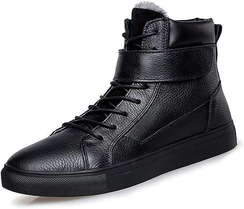EGS-chaussures Bottines à la Mode pour Hommes Bottes de Coton décontractées extérieures Confortables et décontractées Chaussures de Cricket (Couleur   Warm noir, Taille   39 EU)