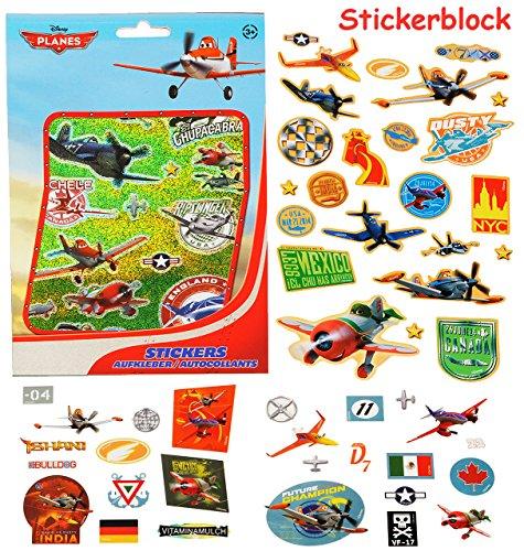 alles-meine.de GmbH 100 TLG. XL Set - Aufkleber / Sticker -  Disney Planes - Flugzeuge / Dusty  - selbstklebend - Stickerblock - für Mädchen & Jungen - Flugzeug - Stickerset Ki..