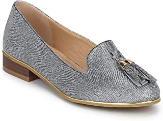 TRUFFLE COLLECTION Women's BL04 Silver Synthetic Ballerinas
