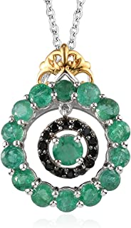 """Green Emerald Black Spinel 14K Yellow Gold Platinum Plated 925 Sterling Silver Dangle Pendant Necklace for Women 20"""" Ct 2"""