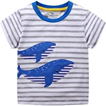 Baby Boy Tees Lattice Stripe Cotton Short Sleeve Round Neck Toddler T-Shirt