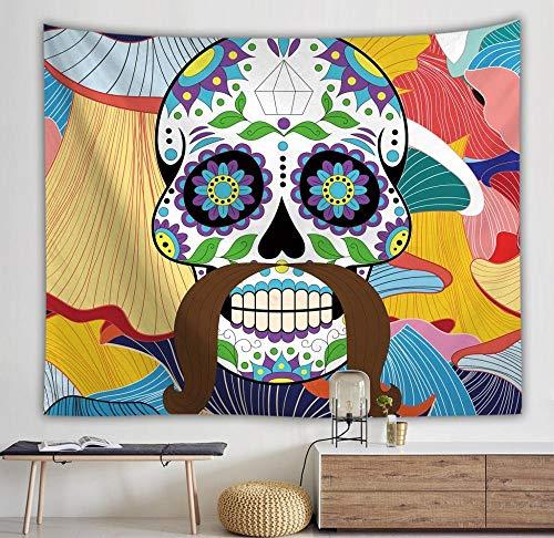 Tapiz de calavera colgante de pared boho tapiz de pared floral decoración mandala colorido tapiz psicodélico cubierta tapiz A3 73x95cm