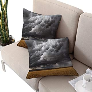 Apartment Decor Collection Square floral pillow covers ,Thunderstorm Dark Clouds Above Fields After Harvesting Montana The USA W24