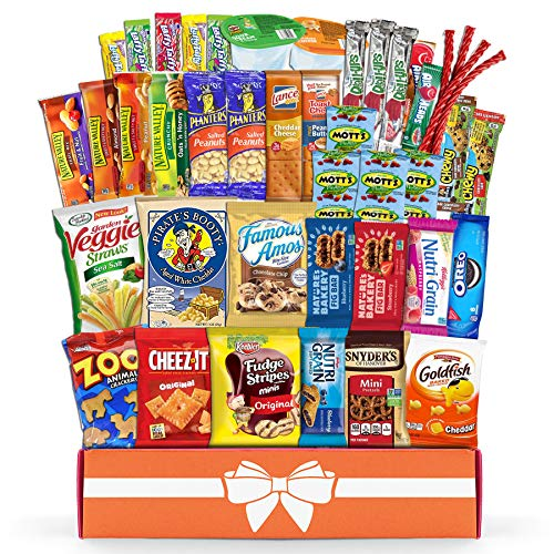 Christmas gift basket Variety Snack Care Package (45 Count) Gift Box for Teens - Fathers Day Goodie Food Arrangement for Dad - Birthday Candy Basket for Men, Women, Boys, Girls, Kid, Adult, College Student - Prime Delivery
