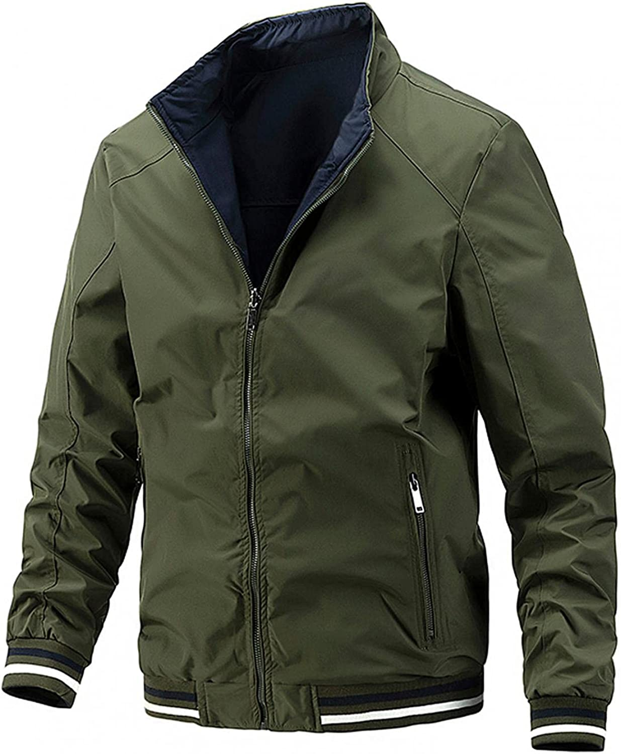AKIMPE Autumn&Winter Wear On Both Sides Long Sleeve Coats for Men,Solid Casual Comfy Zipper Jacket Tops with pocket