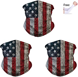 American US Flag Bandana Neck Gaiter, UV Protect Scarf Balaclava for Men Women