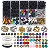 EuTengHao 721Pcs Lava Beads Stone Kits with 8mm Chakra Beads Natural Stone Beads and Spacers Beads Bracelet Elastic String for Diffuse Essential Oils Adult DIY Jewelry Making Supplies