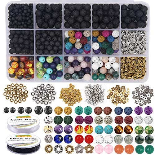 EuTengHao 721 Lava-Perlen-Sets mit 8 mm Chakra-Perlen, Natursteinperlen und Abstandshaltern, Armband, elastisches Band für diffuse ätherische Öle, Erwachsene, DIY Schmuck
