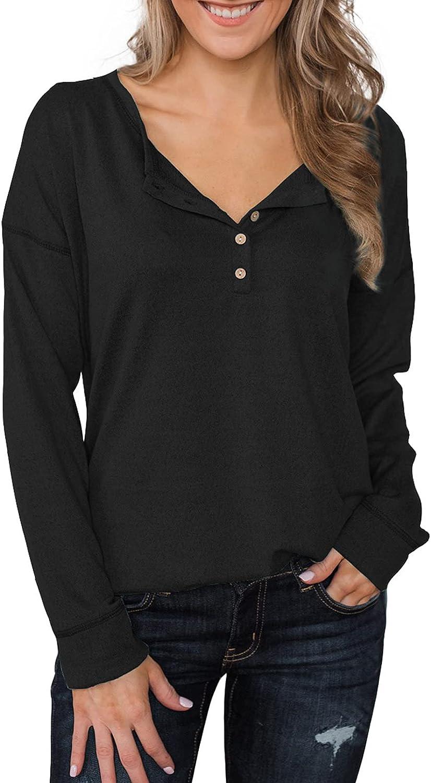 Dokotoo Women's Causal Long Sleeve V Neck Button Henley Tops Blouse T Shirt