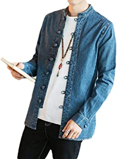 Washed Casual Plus Size Chinese Style Baggy Denim Jackets