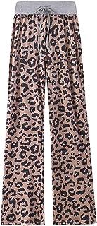 amropi Women Wide Leg Palazzo Trousers Drawstring Floral Print Casual Pajama Lounge Pants