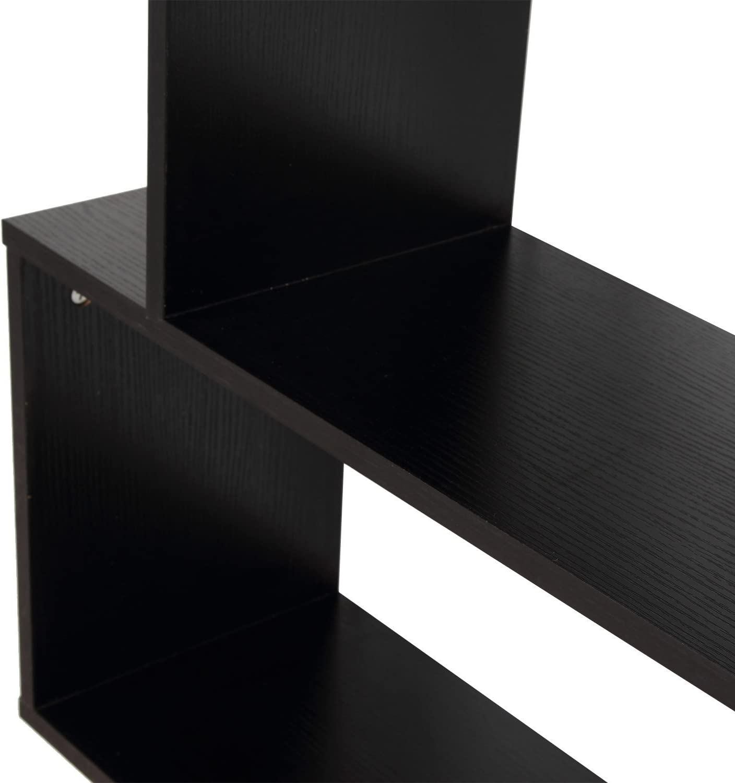 80 x 23.5 x 192 cm White Wooden Book Shelves 6 Tier S Shape Bookshelf Case Storage Display Unit