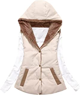 LianXiYou Womens Solid-Colored Stand Collar Trench Thick Vest Quilted Gilet