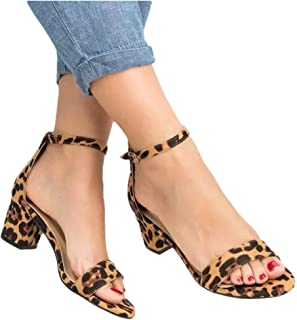 Womens Summer Sexy Leopard Print Heeled Sandals Buckle Ankle Strap Open Toe Sandals Shoes (US:6.5, Yellow)