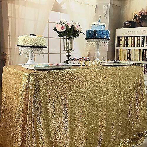 EDCV Tafelkleed Geborduurd Pailletten Tafelkleed Kerst Bruiloft Festival Feestdecoratie Vierkant Goud Pailletten Tafelkleed Glitter