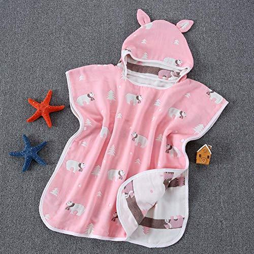 LYYAN Neugeborenes Baby Kinder Bade Poncho mit Kapuze Musselin Quadrate Baumwolle Kapuzen Badetuch Bademantel Bad Handtuch zum 0-6 Jahre,60x60cm (Color : 06)